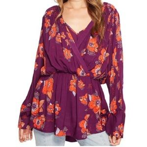 Free People purple floral boho tunic top